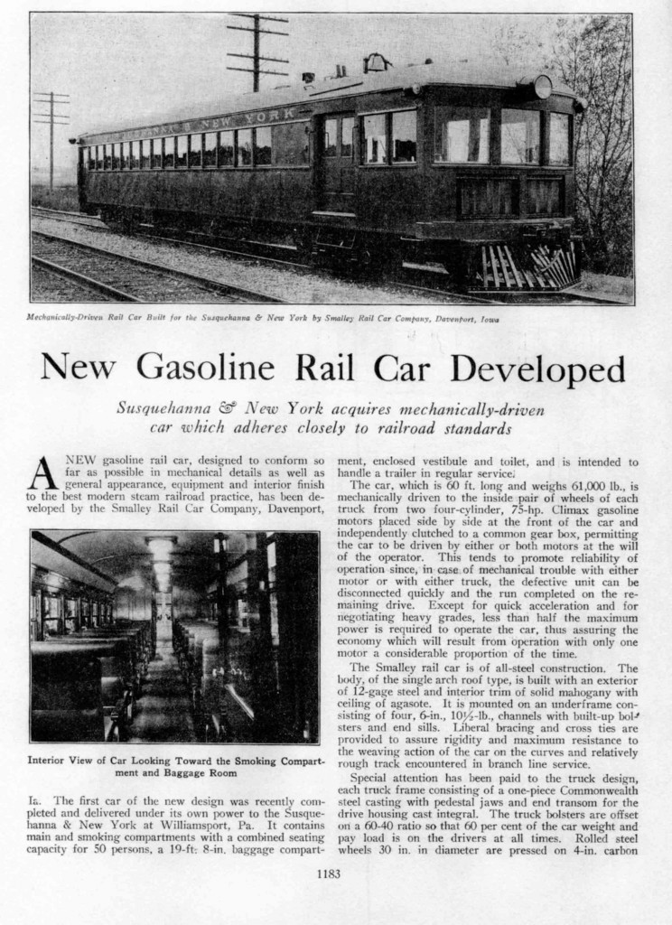 """New Gasoline Rail Car Developed"", Railway Age Vol. 79, No. 26. Dec 26, 1925. pp.1181-1185"