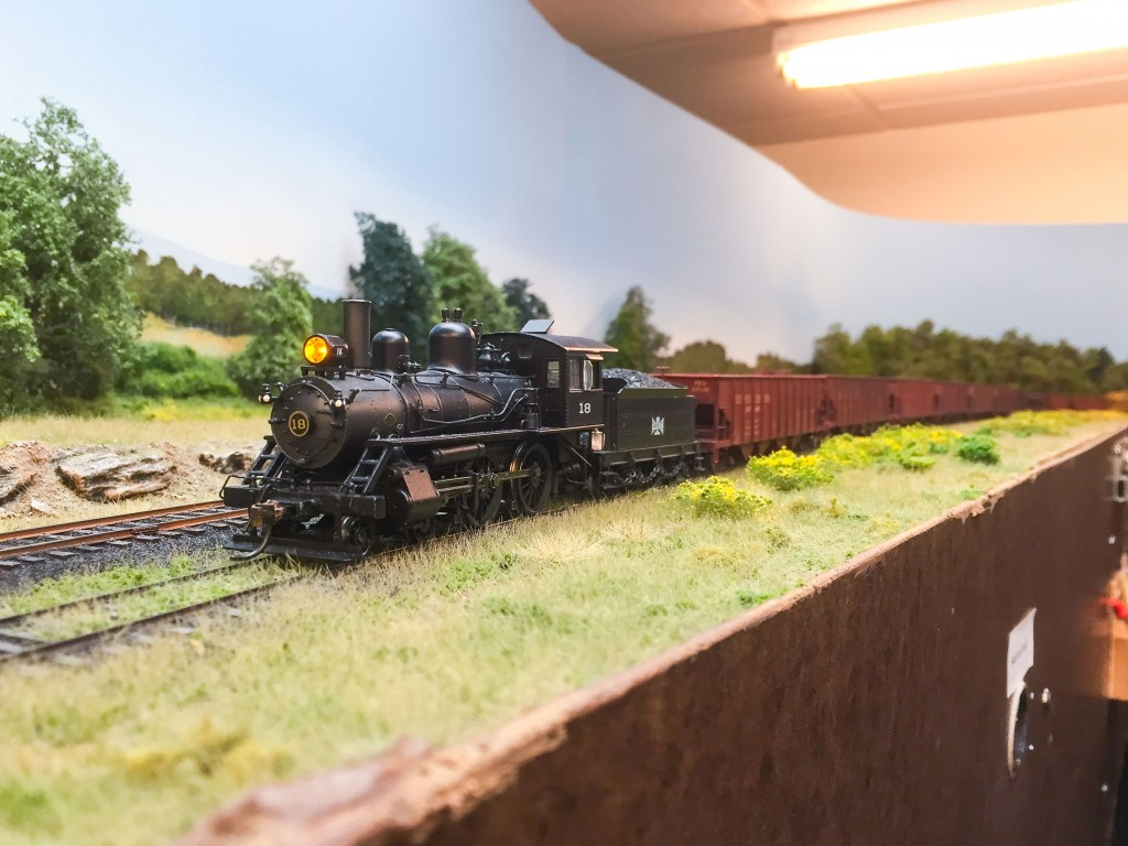 Leased Bessemer 4-4-0 leads westbound empties at Wheelerville.